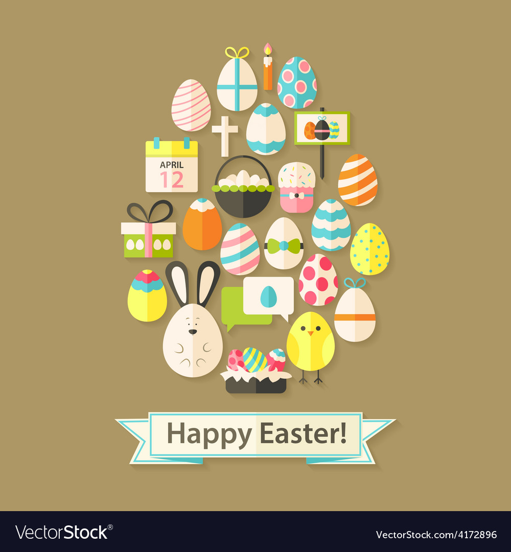 Easter holiday greeting card with flat icons egg vector | Price: 1 Credit (USD $1)