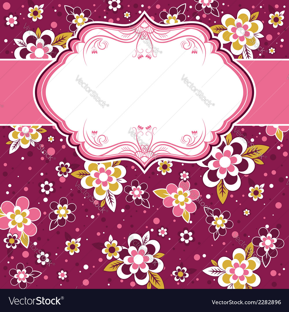 Frame with background of flowers vector | Price: 1 Credit (USD $1)