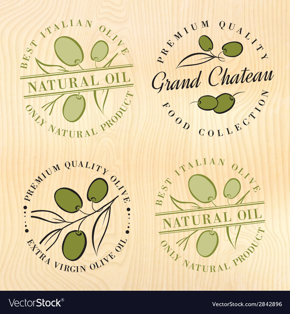 Natural olive oil labels vector | Price: 1 Credit (USD $1)