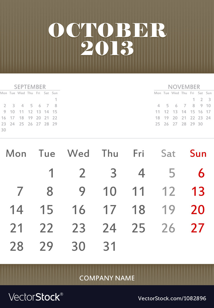 October 2013 calendar design vector | Price: 1 Credit (USD $1)
