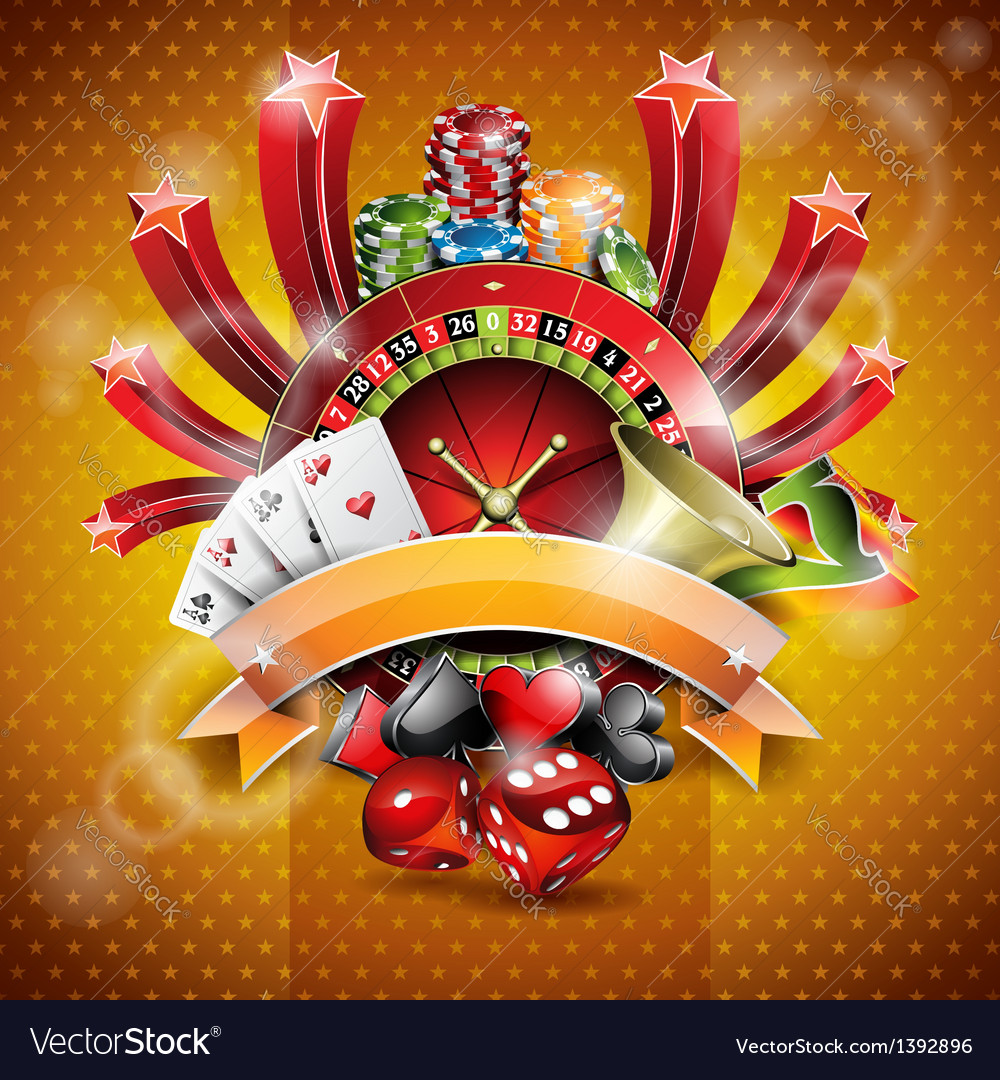 On a casino theme with roulette wheel vector | Price: 3 Credit (USD $3)