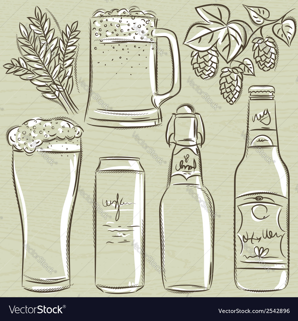 Set of beer bottle vector | Price: 1 Credit (USD $1)