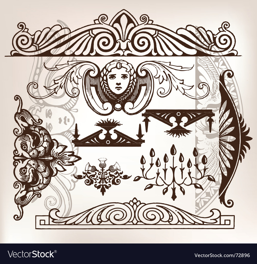 Set of vintage frame traced vector | Price: 1 Credit (USD $1)