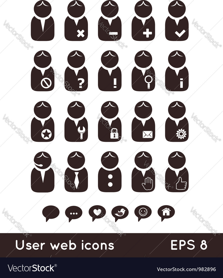 User web icons with speech bubbles vector | Price:  Credit (USD $)
