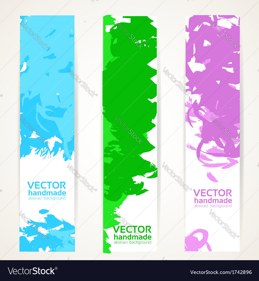 Vertical abstract handdrawing by ink banner set vector | Price: 1 Credit (USD $1)
