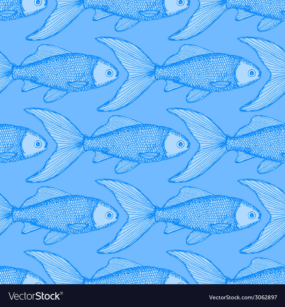 Fish cute seamless pattern vector | Price: 1 Credit (USD $1)