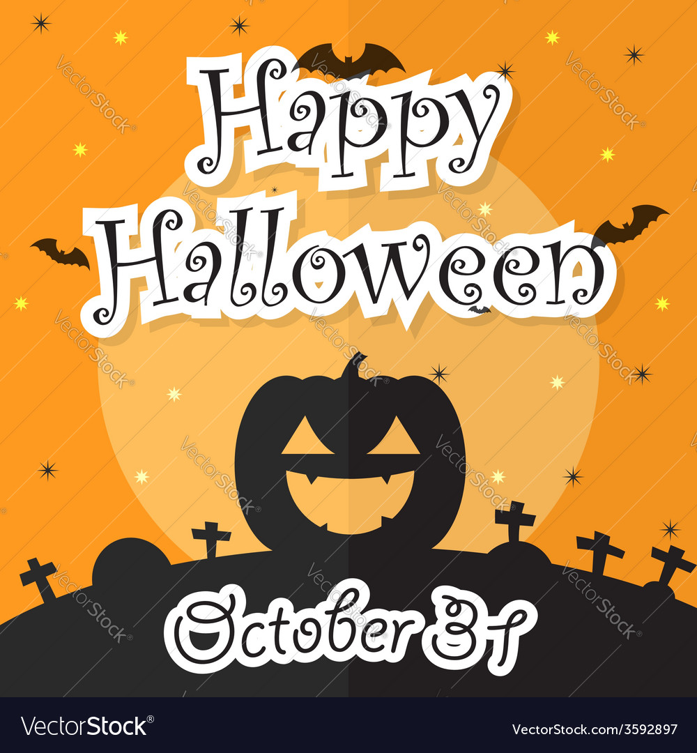 Happy halloween night background with moon bat p vector | Price: 1 Credit (USD $1)