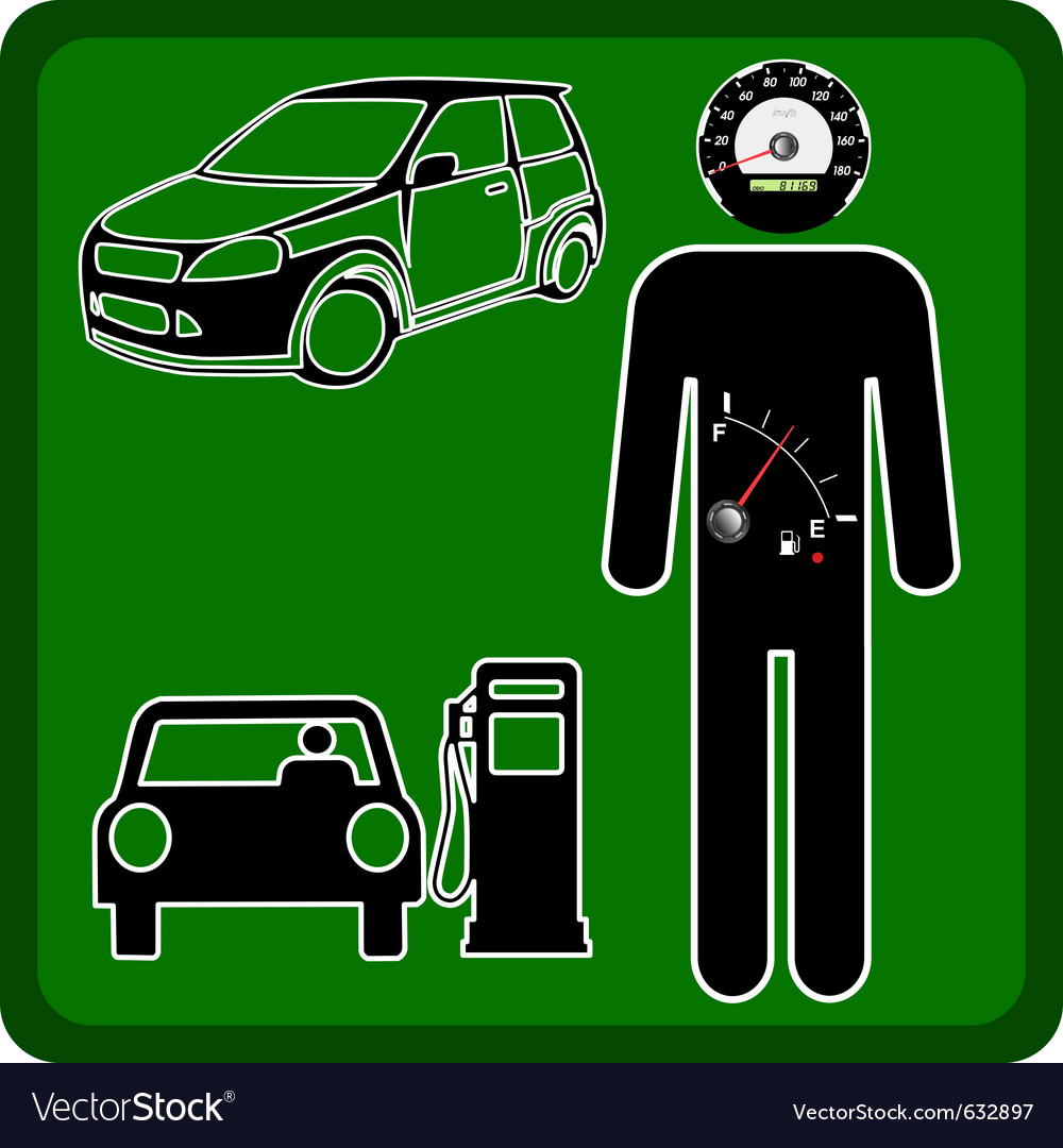 Man icon with the fuel gauge in my stomach and spe vector | Price: 1 Credit (USD $1)