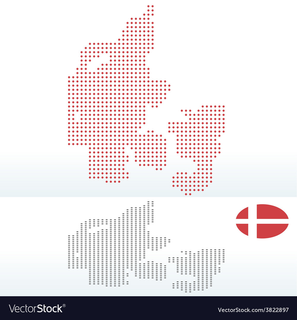 Map of kingdom of denmark with with dot pattern vector | Price: 1 Credit (USD $1)