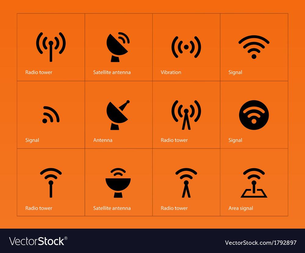 Radio tower icons on orange background vector | Price: 1 Credit (USD $1)