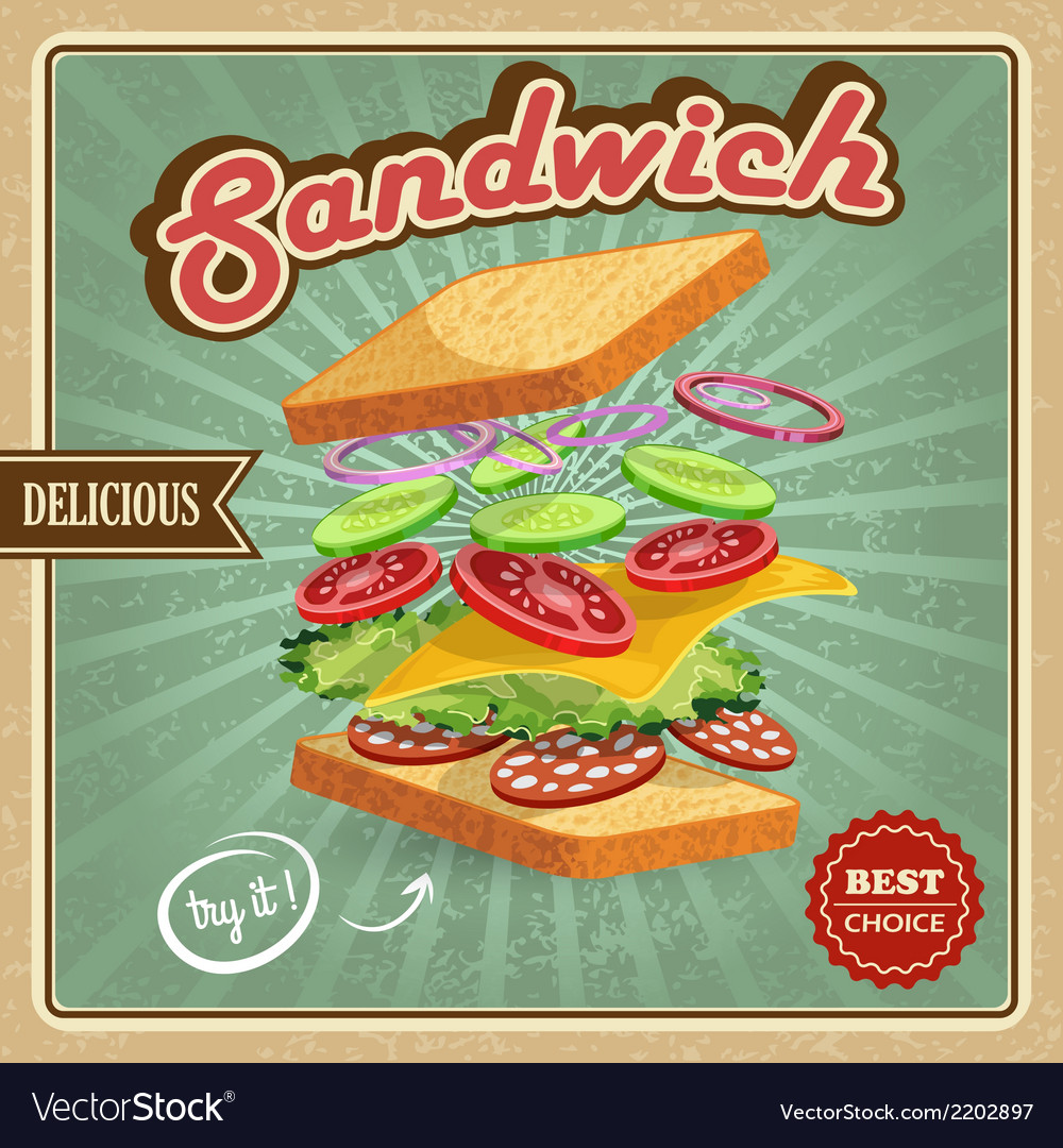 Salami sandwich poster vector | Price: 1 Credit (USD $1)