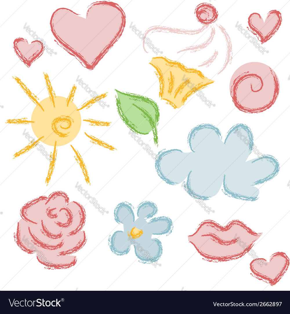 Set of hand drawn summer objects vector | Price: 1 Credit (USD $1)