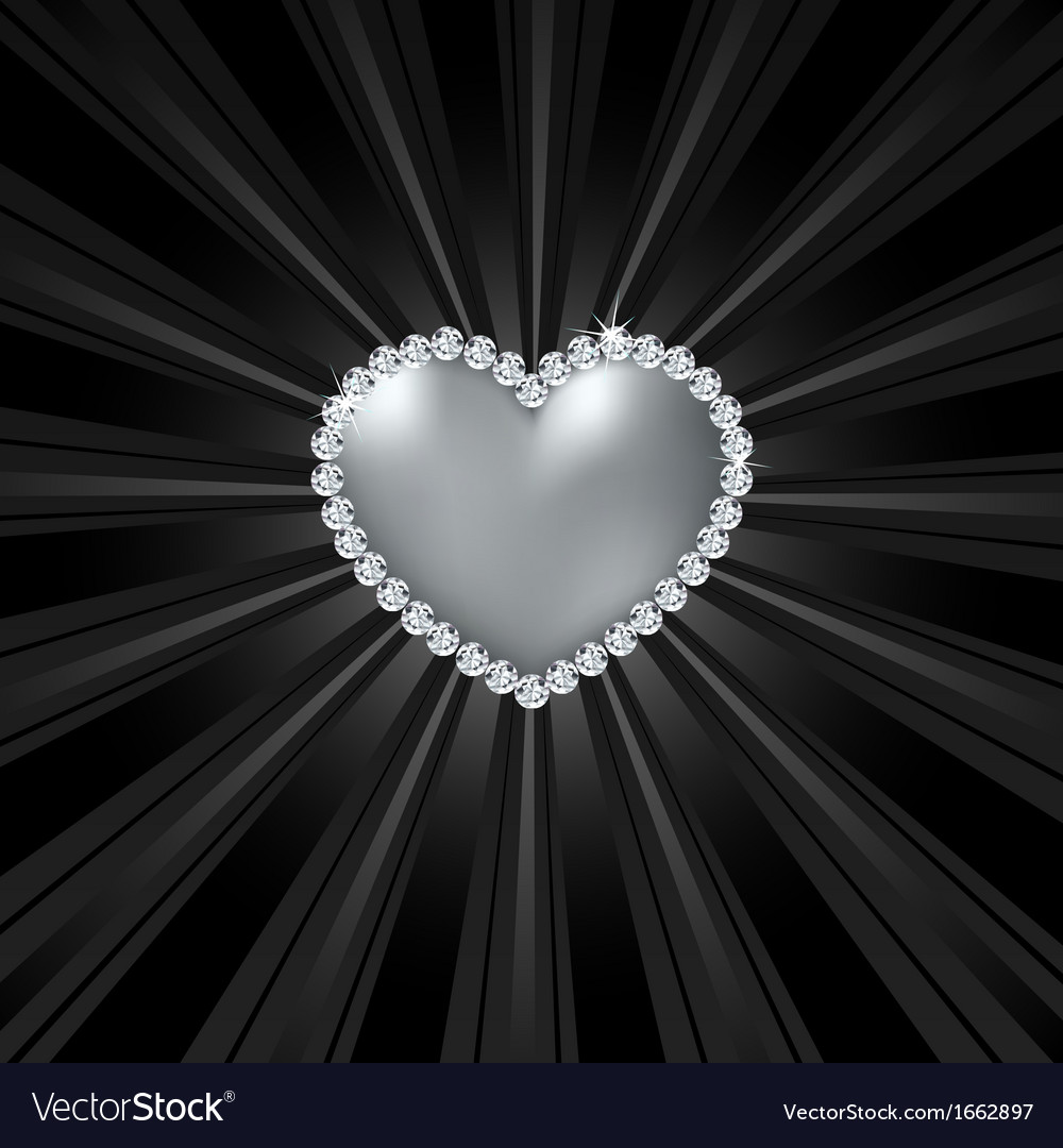 Shiny crystal love heart on black line vector | Price: 1 Credit (USD $1)