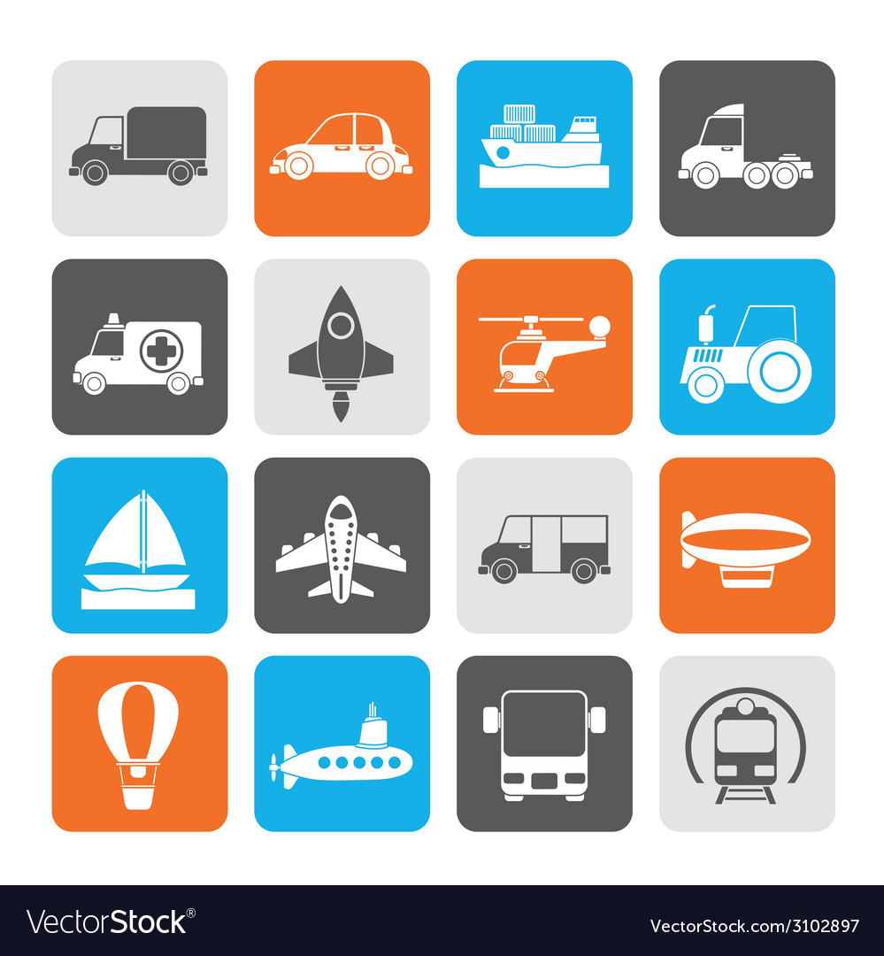 Silhouette different kind of transportation icons vector | Price: 1 Credit (USD $1)