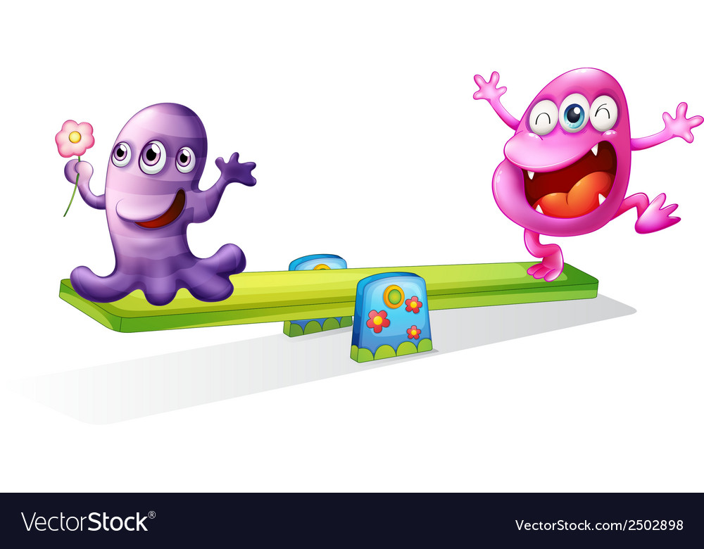 A pink and a violet monster playing vector | Price: 1 Credit (USD $1)