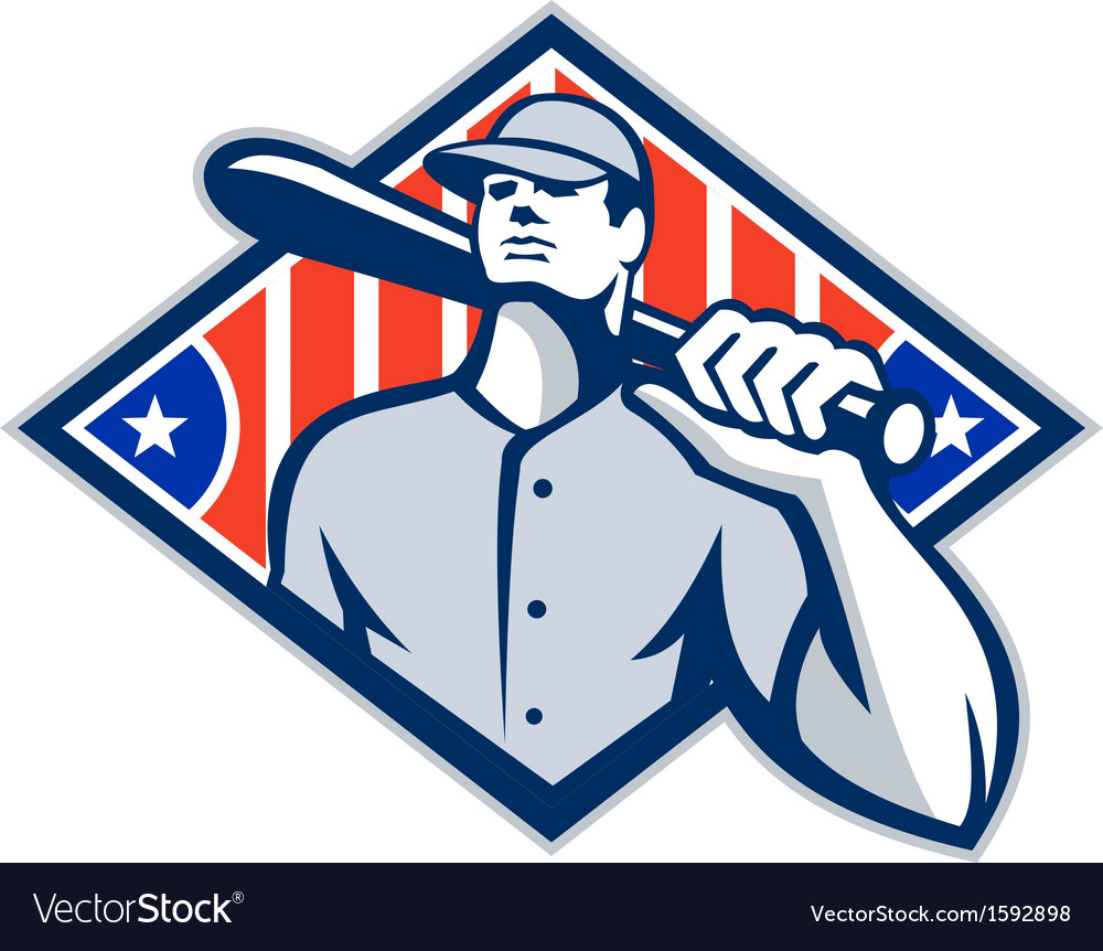 Baseball batter hitter bat shoulder retro vector | Price: 1 Credit (USD $1)