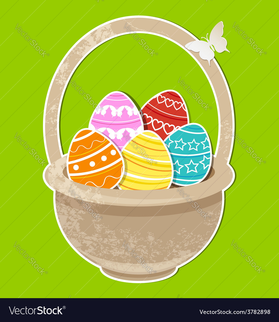 Easter background with eggs in basket vector | Price: 1 Credit (USD $1)