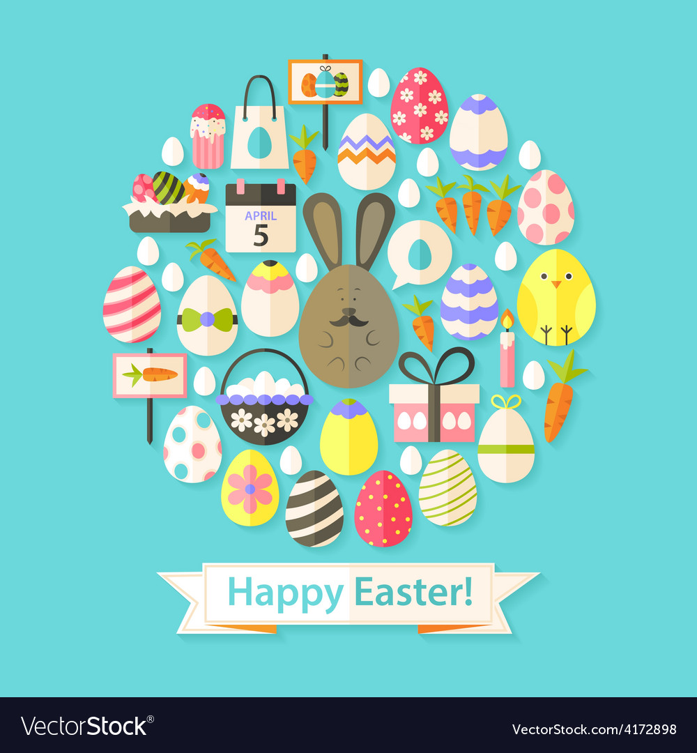Easter holiday greeting card with flat icons set vector   Price: 1 Credit (USD $1)