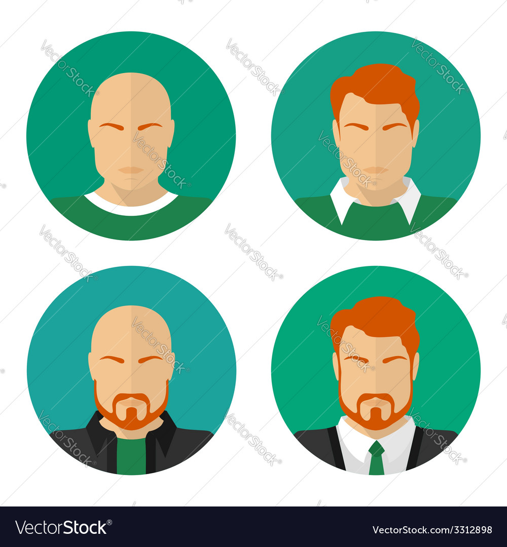 Flat male faces circle icons vector | Price: 1 Credit (USD $1)
