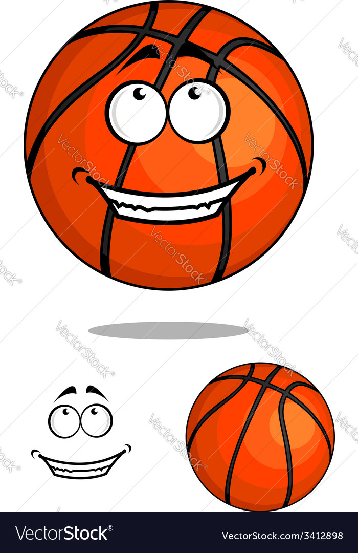 Grinning happy cartoon basketball ball vector | Price: 1 Credit (USD $1)