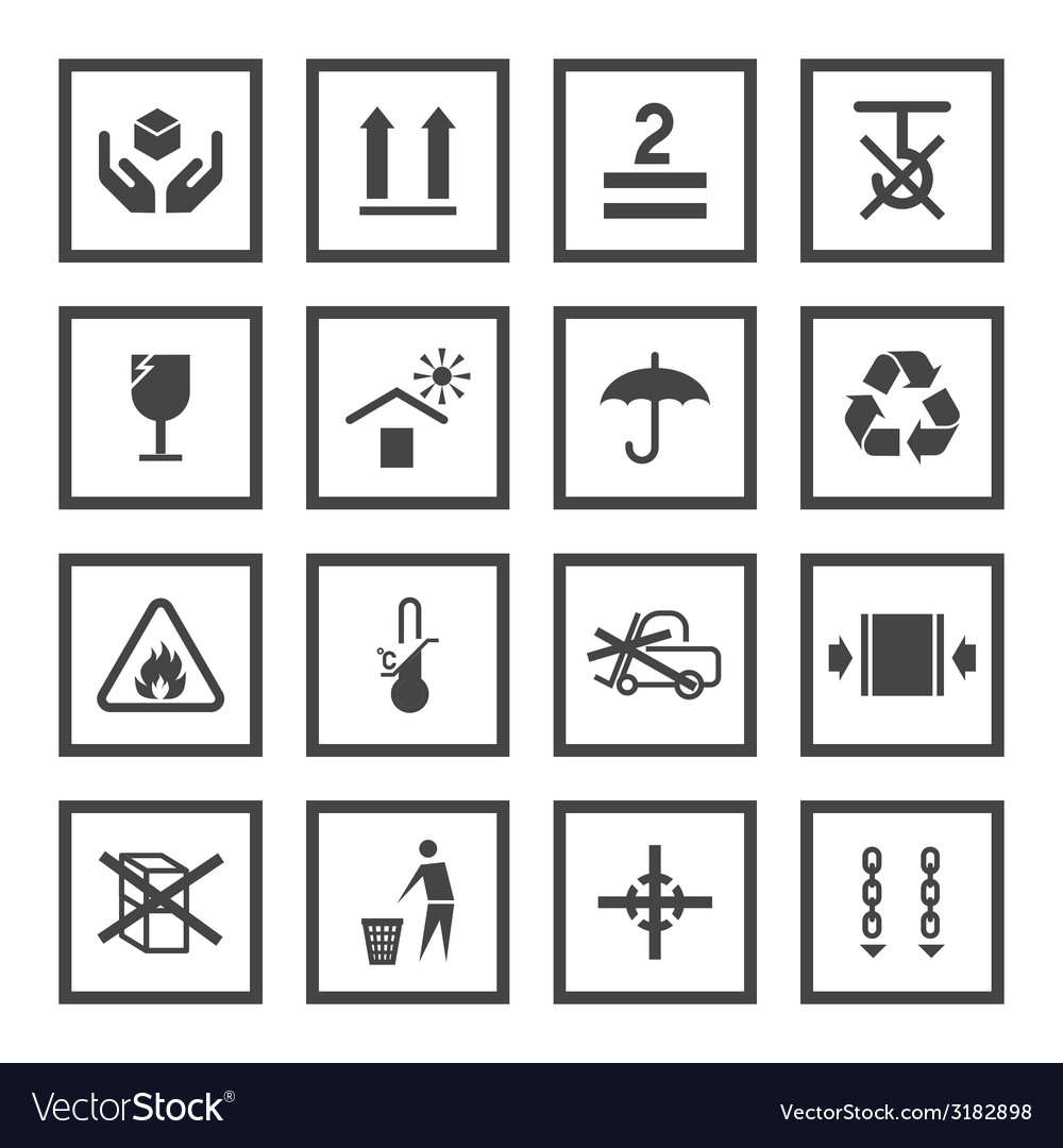 Handling and packing symbols vector | Price: 1 Credit (USD $1)