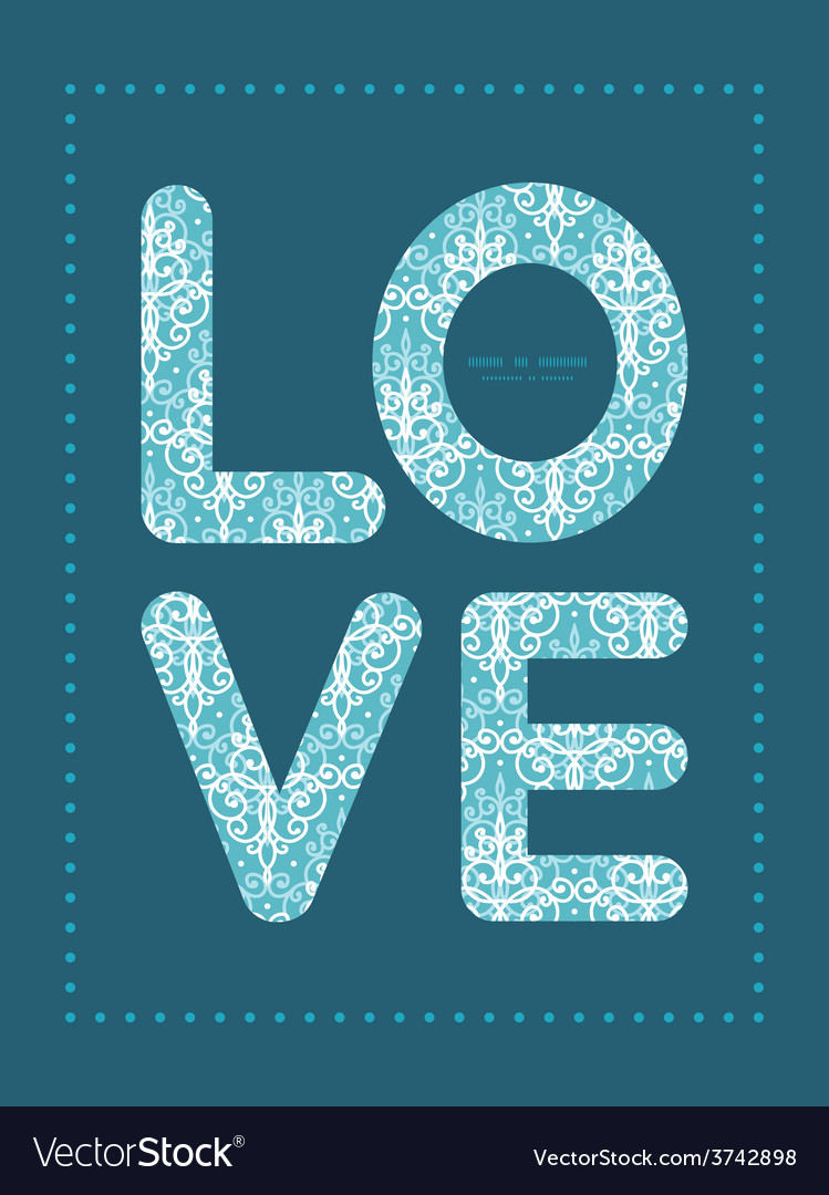Light blue swirls damask love text frame vector | Price: 1 Credit (USD $1)
