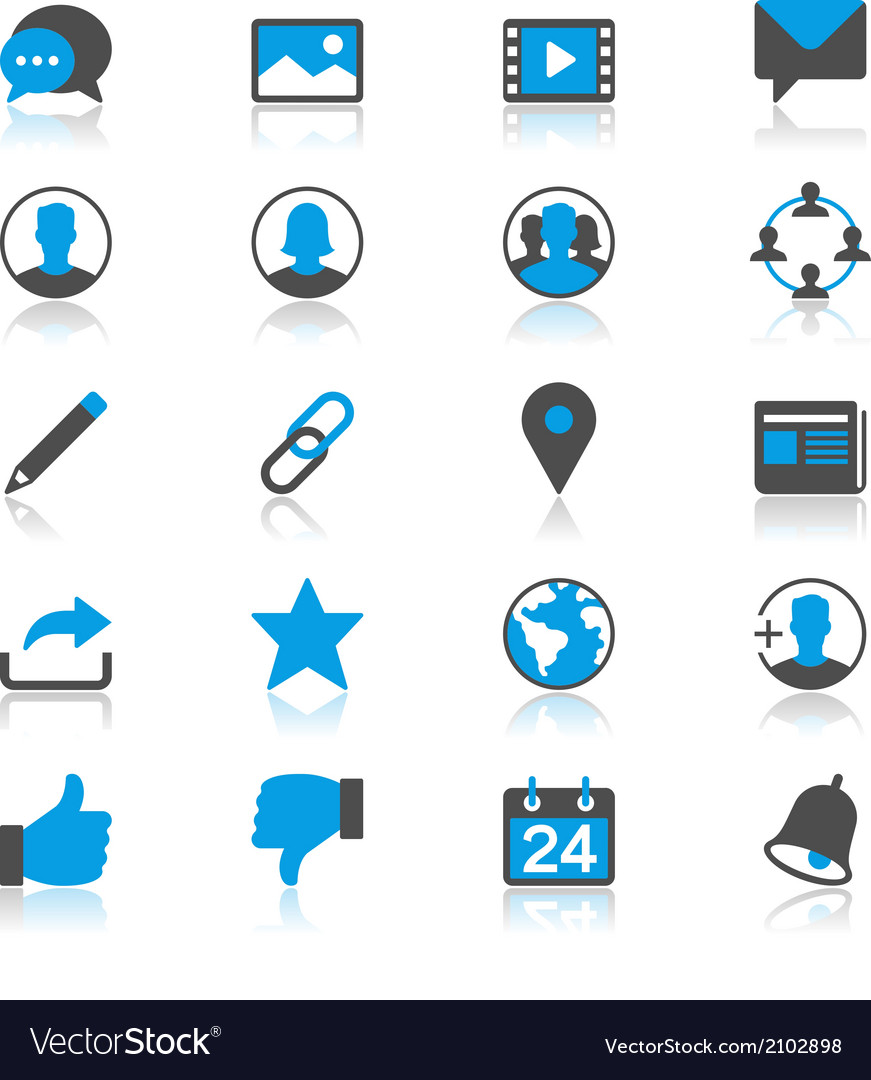 Social network flat with reflection icons vector | Price: 1 Credit (USD $1)