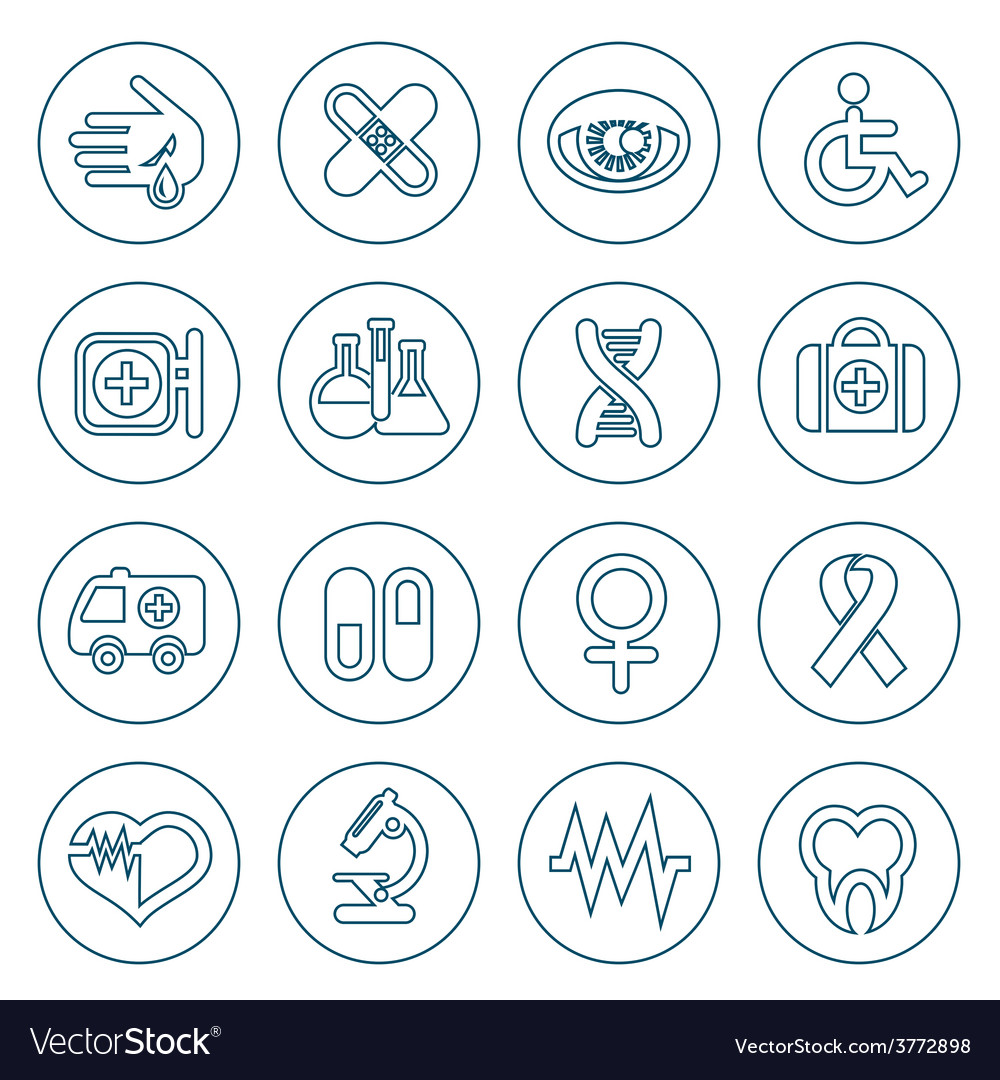 Thin line medical icons set vector | Price: 1 Credit (USD $1)