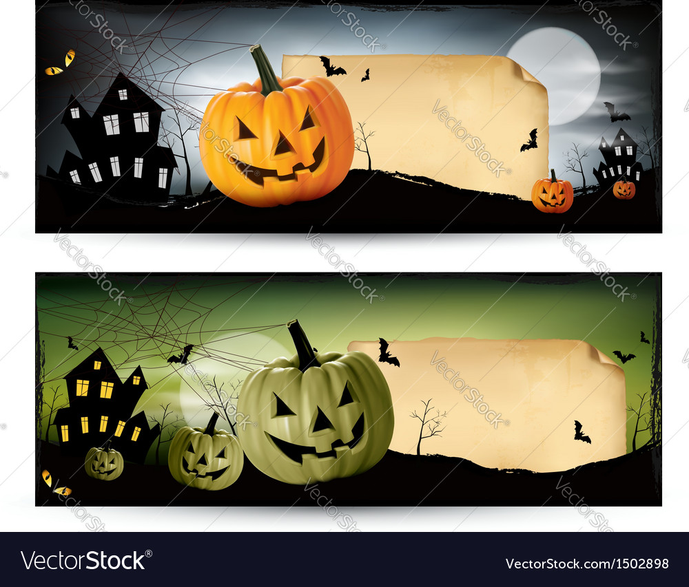 Two halloween banners vector | Price: 1 Credit (USD $1)