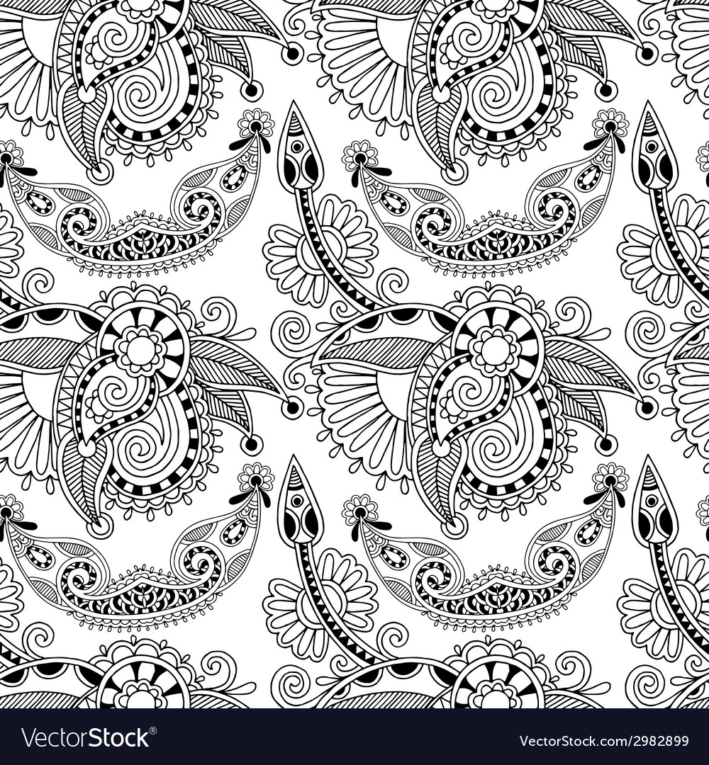 Black and white ornate seamless flower paisley vector | Price: 1 Credit (USD $1)