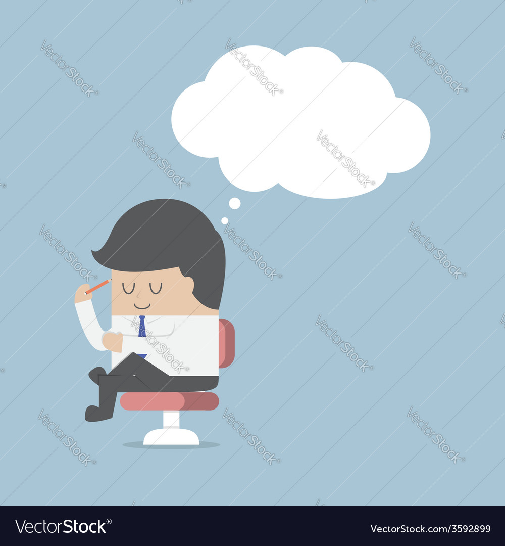 Businessman is thinking while sitting on the chair vector | Price: 1 Credit (USD $1)