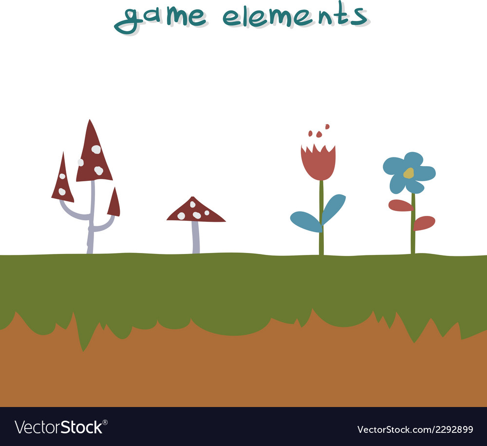 Flowers and mushrooms game element vector | Price: 1 Credit (USD $1)