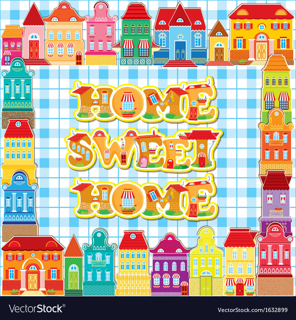 Frame with decorative colorful houses vector | Price: 1 Credit (USD $1)