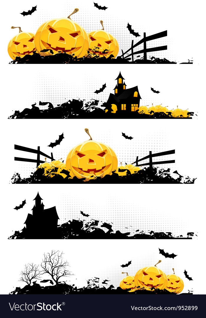 Grunge halloween banner set vector | Price: 3 Credit (USD $3)