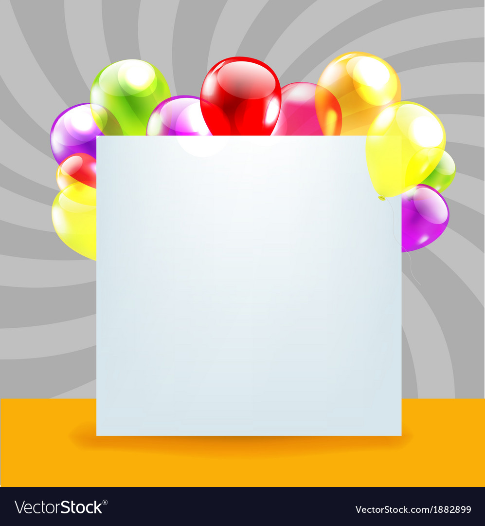 Happy birthday day card with color balloons vector | Price: 1 Credit (USD $1)