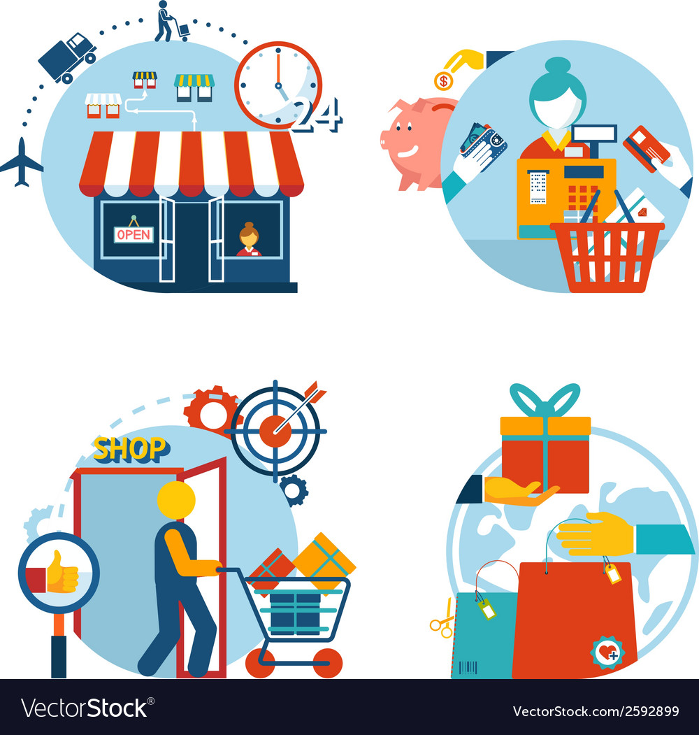 Shopping icons of a store shopping and delivery vector | Price: 1 Credit (USD $1)