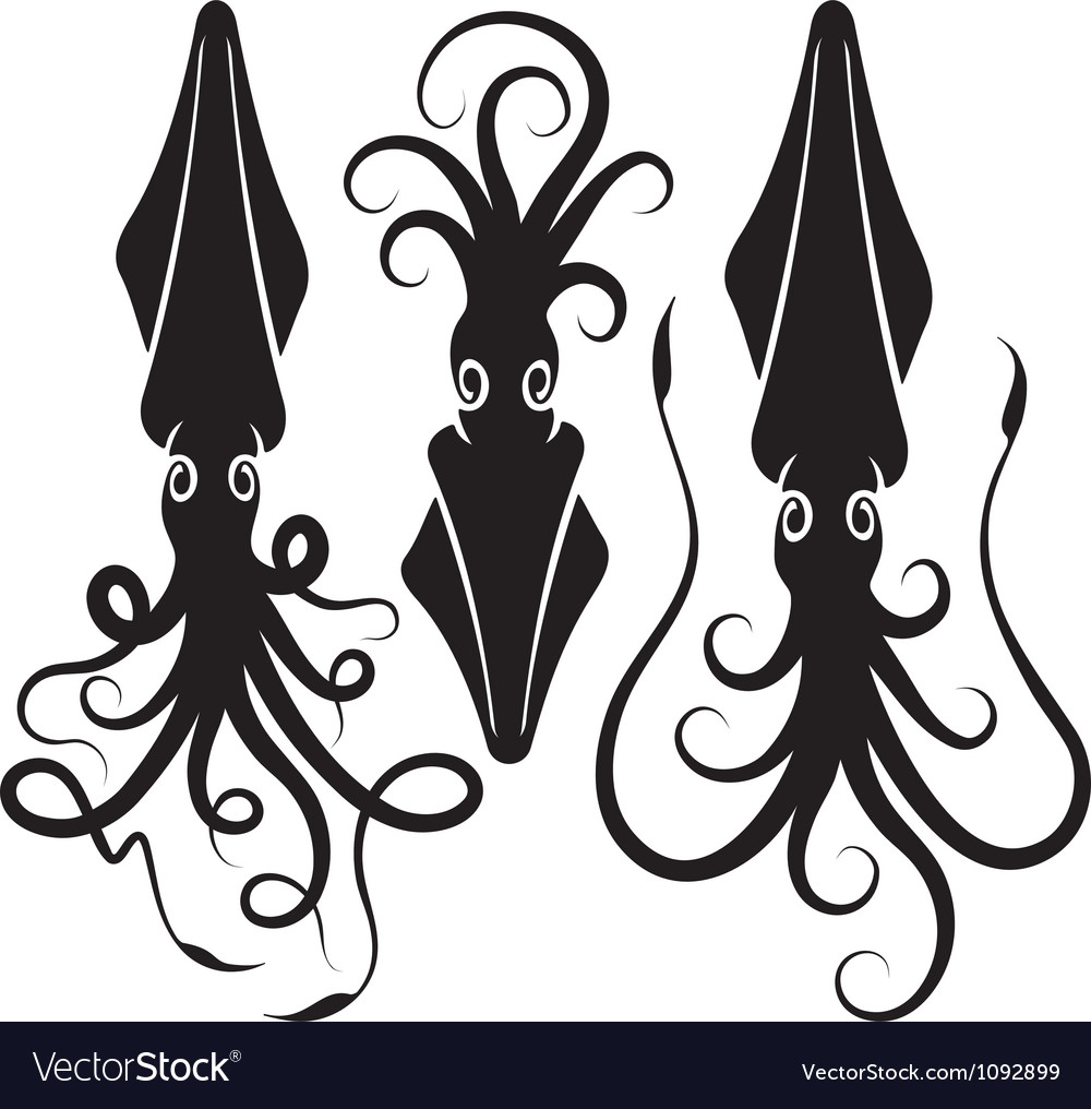 Squid silhouettes vector | Price: 1 Credit (USD $1)