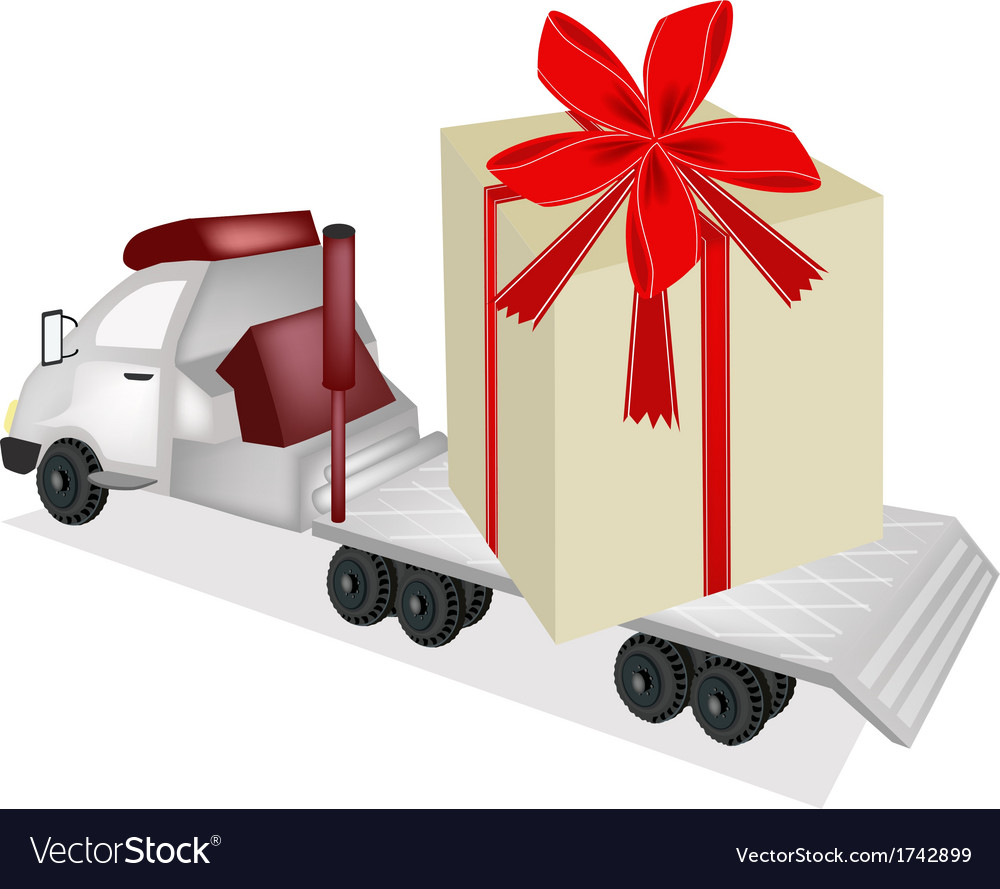 Tractor trailer flatbed loading a giant gift box vector | Price: 1 Credit (USD $1)