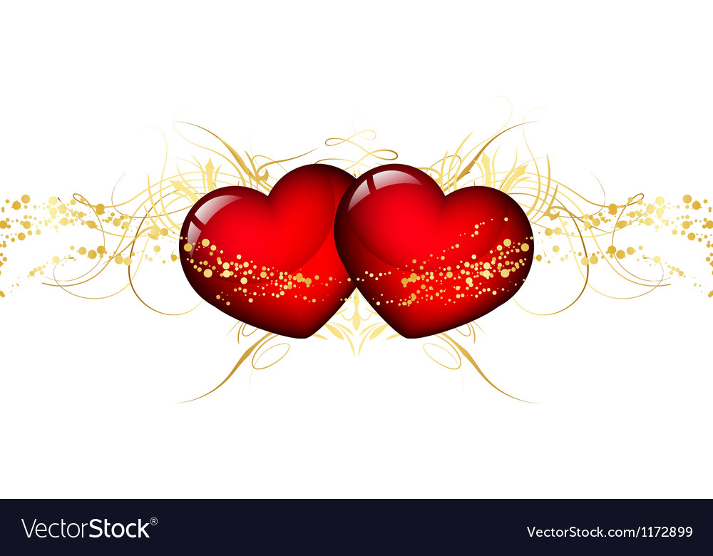 Two red hearts vector | Price: 1 Credit (USD $1)