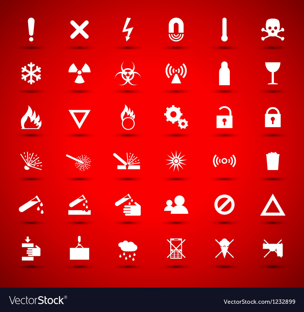 White warning and danger signs vector | Price: 1 Credit (USD $1)
