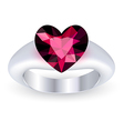 Ring with gemstone heart shaped vector