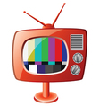 Red retro tv set vector