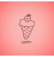 Strawberry ice cream doodle vector