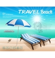 Beach background with chair and umbrella on sand vector