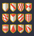 Set of shields red and green vector