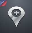 Plus map pointer gps location icon symbol 3d style vector