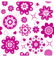 Pink flowers and hearts seamless vector