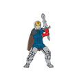 Knight wielding sword front cartoon vector