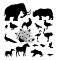 Wild animal silhouettes vector