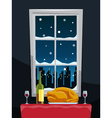 Romantic dinner with turkey on table near window vector
